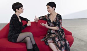 Phyllis Foundis and Anne-Marie Cavaco chat on the Lip Lounge
